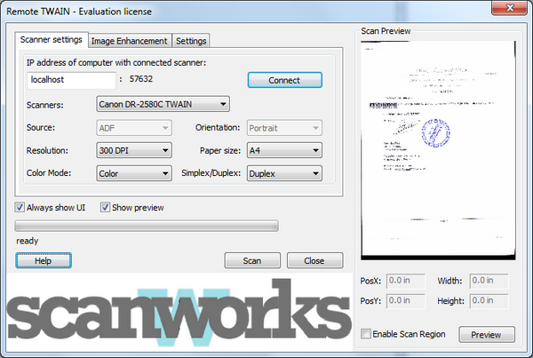Screenshot of RemoteTwain 4.2